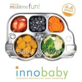 兒童餐具餐盤-Baby Joy World美國innobaby 不鏽鋼巴士造型餐盤餐具
