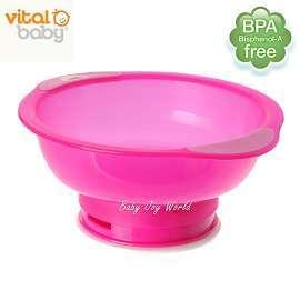 兒童學習碗餐具-Baby Joy World-英國vital baby【拔不起來】幼兒學習吸盤碗-桃紅色