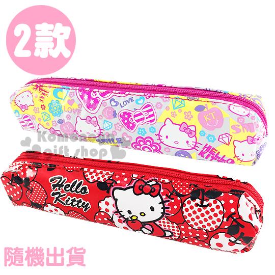 〔小禮堂〕Hello Kitty 拉鍊筆袋《2款.隨機出貨.紅/白.點點蘋果.大臉滿版》