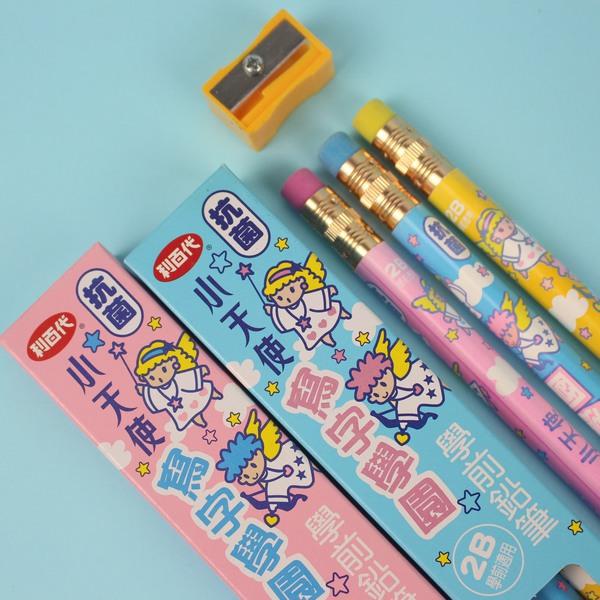利百代學齡前鉛筆 CB-202 小天使皮頭抗菌大三角形鉛筆2B/一小盒3支入 定[#50]~台灣製