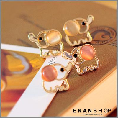 惡南宅急店【0158D】韓國飾品熱賣 簍空貓眼時大象耳環 (一對價)