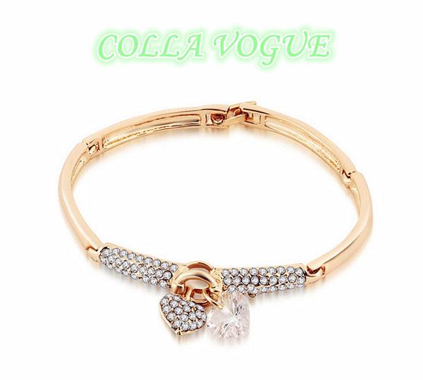 ✻蔻拉時尚✻ [ASCC21-2] COLLA_嚴選進口瑞士鑽 滿鑽雙心之戀系列 精緻扣式手環 金銀兩色