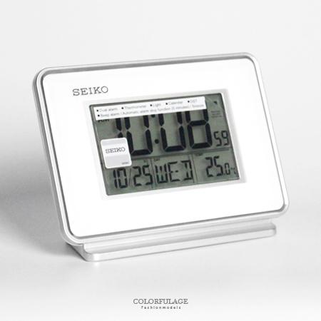日本品牌SEIKO精工白色電子式鬧鐘 冷光液晶顯示大字座鐘 居家美學 柒彩年代【NV1704】原廠公司貨