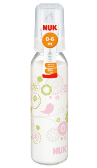 『121婦嬰用品館』NUK 一般口徑印花玻璃奶瓶230ml - (1號中圓洞)