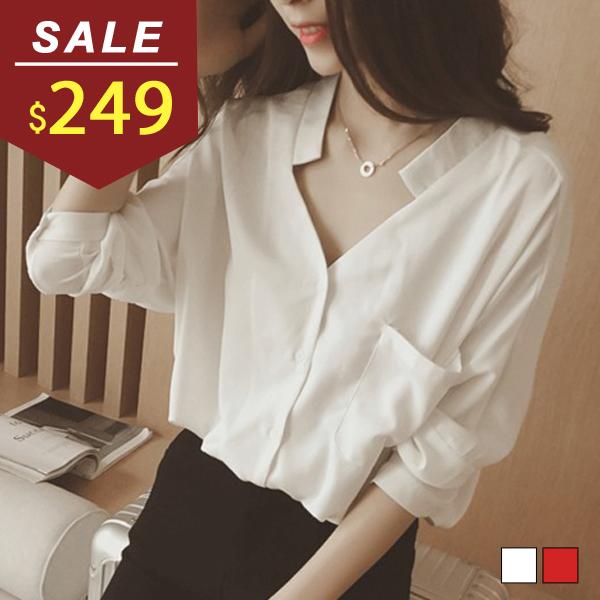 襯衫 雙V顯瘦排扣五分袖棉質襯衫 小豬兒 MiNi Jule 【SCA62049213】