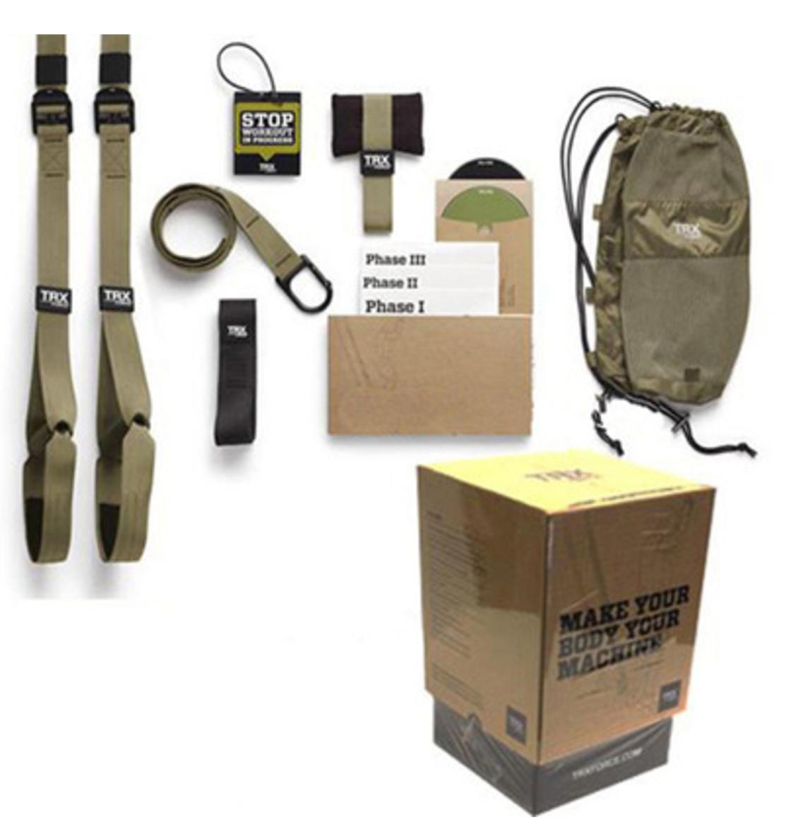 TRX懸掛式可隨處吊掛使用軍用健身訓練帶核心訓練肌力訓練多功能全身訓練懸吊繩軍綠色軍用版精裝和包裝附教學CD與說明書