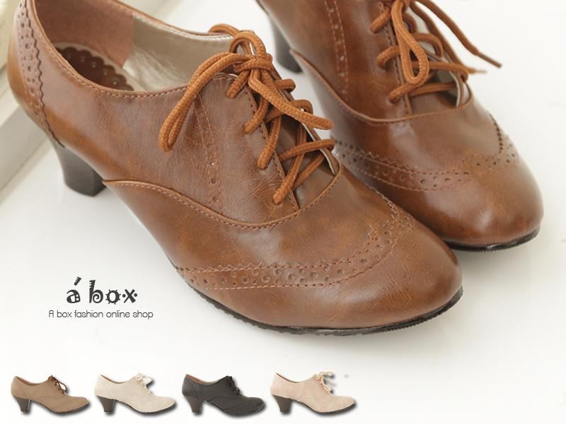 ★399免運★格子舖*【KIW6650】韓版台灣製 英倫牛津皮質素面綁帶式粗跟超舒適 踝靴 短靴 5色現貨