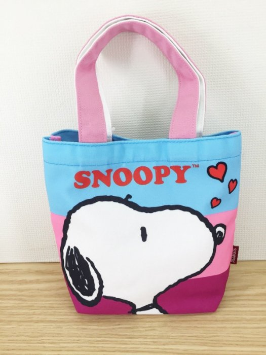 【真愛日本】15120500033 帆布提袋-SN大頭紫粉藍愛心 史努比 Snoopy 包包 手提袋 手拿包