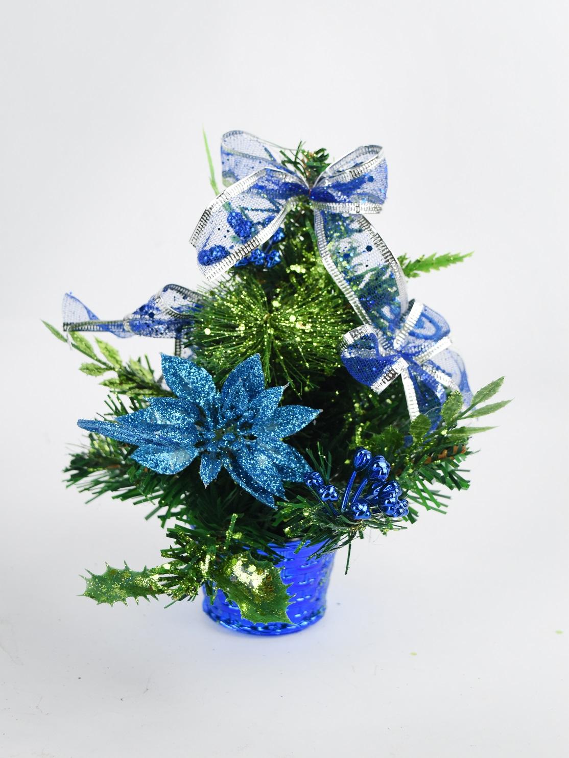 X射線【X454042】20cm裝飾聖誕樹(藍),聖誕樹/聖誕佈置/聖誕燈/會場佈置/材料包/成品樹/小樹