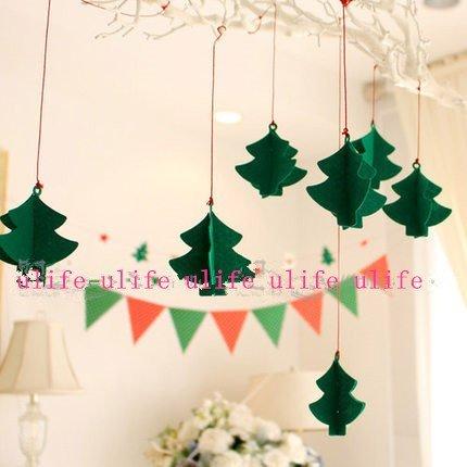 =優生活=韓國聖誕節慶裝飾派對聖誕樹飾品佈置幼兒園裝飾聖誕節立體聖誕樹掛飾拉花