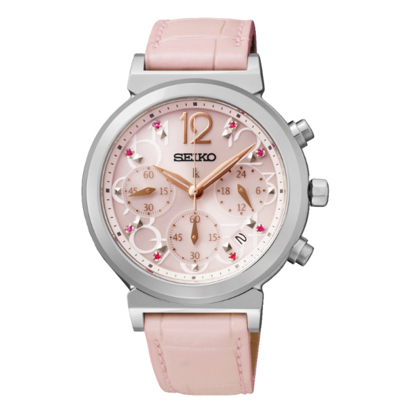 Seiko Lukia V175-0AJ0N(SSC883J1)甜心美人太陽能計時腕錶/粉紅面35mm