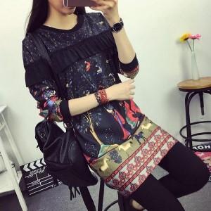 美麗大街【IR2127】民族風女裝長袖連衣裙長袖洋裝