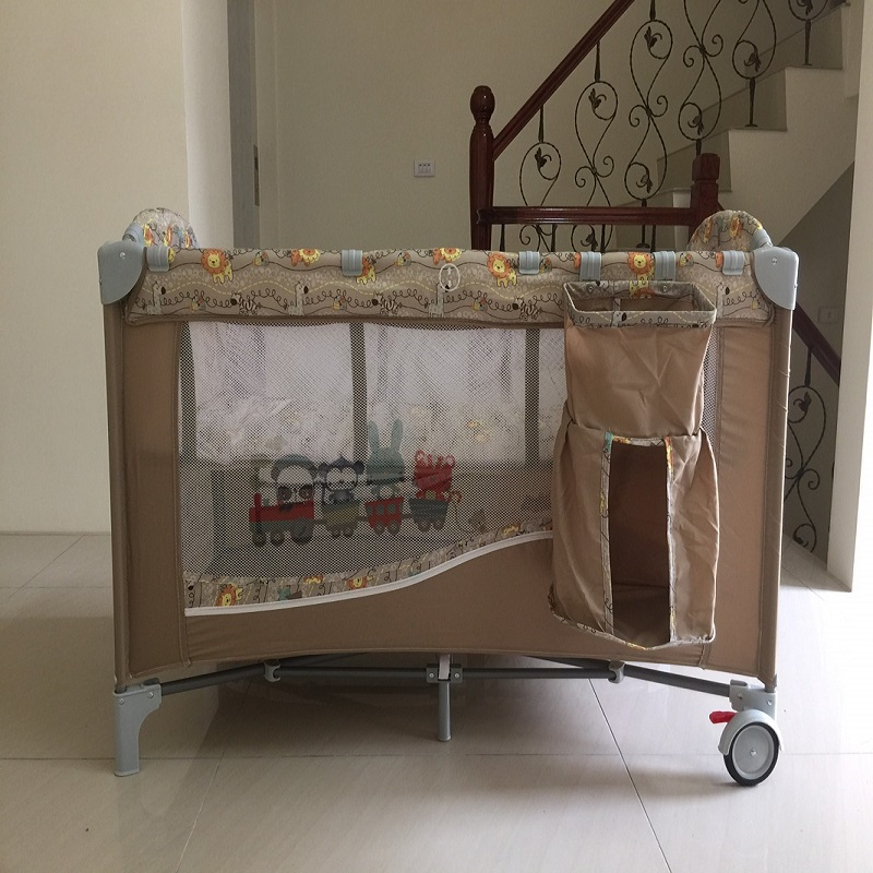 豪華遊戲床 加長遊戲床 多功能 嬰兒床 雙層床 可折疊 附置物袋 尿布台