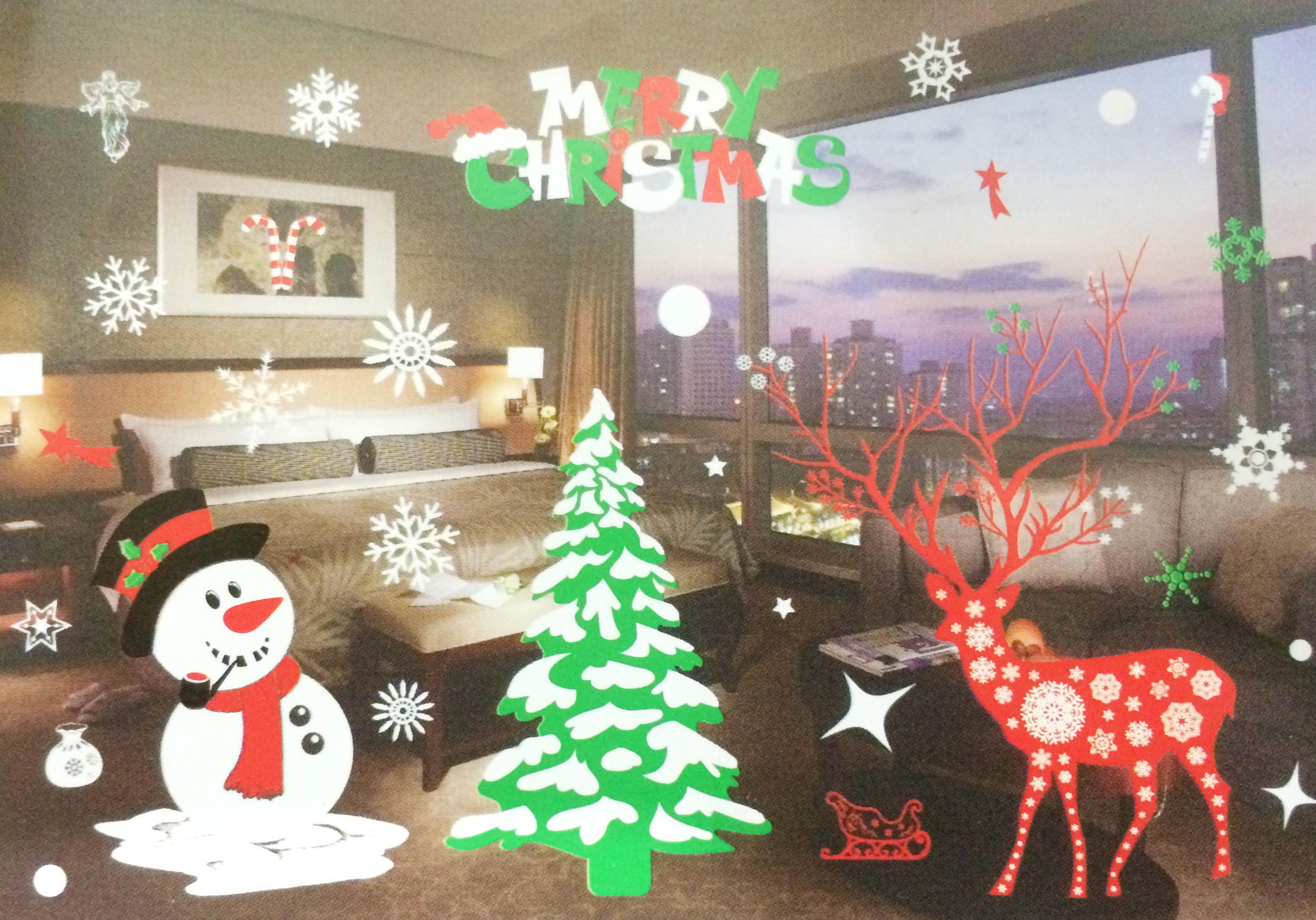 X射線【X150022】雪人麋鹿靜電窗貼,聖誕節/聖誕擺飾/聖誕佈置/聖誕造景/聖誕裝飾/玻璃貼/牆面佈置/壁貼