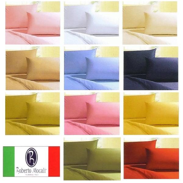 100%純棉單人床包枕頭套組【Roberto Mocali 諾貝達莫卡利素色系列】50支紗精梳棉 大鐘印染 台灣製MIT 可訂製/可訂做特殊尺寸~華隆寢飾