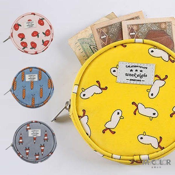♚MY COLOR♚卡通圖案多用途圓包 便攜 鑰匙 耳機 拉鏈 針線 多用途 小物 閨密 零錢包 【B10】
