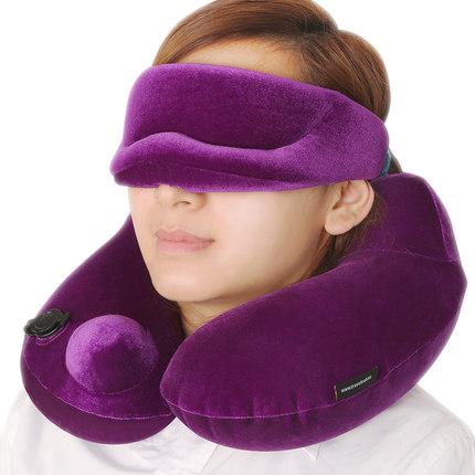 {安穩枕眠}護頸枕脖子保健頸椎枕 旅行飛機u型枕 午睡自動充氣枕頭七天預購+現貨