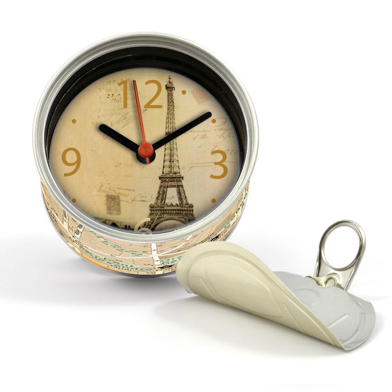 打開罐頭是時鐘 巴黎鐵塔 罐頭造形 磁鐵時鐘 也可立於桌上