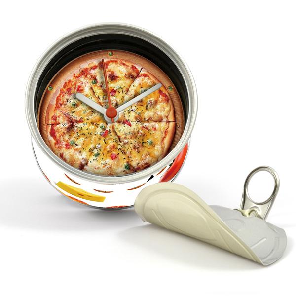 打開罐頭是時鐘 PIZZA 罐頭造形 磁鐵時鐘 也可立於桌上