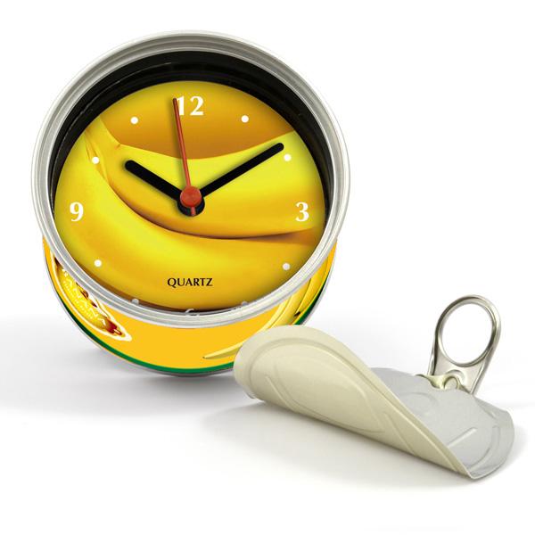 打開罐頭是時鐘 香蕉 罐頭造形 磁鐵時鐘 也可立於桌上