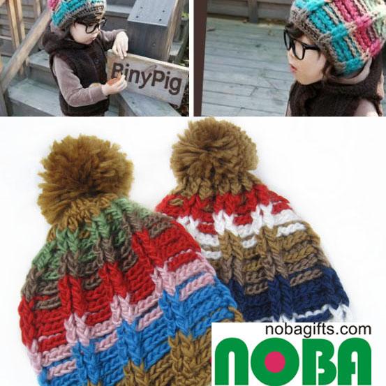 韓版 彩色拼色 球球帽 兒童及女生毛線帽 秋冬帽