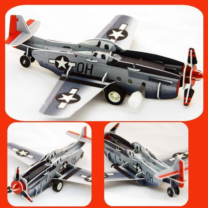 螺旋漿戰鬥機 可動發條式 3D立體拼圖玩具
