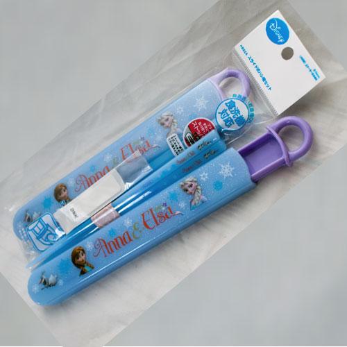冰雪奇緣 安娜 艾莎 筷子組附保存盒 日本製迪士尼正版