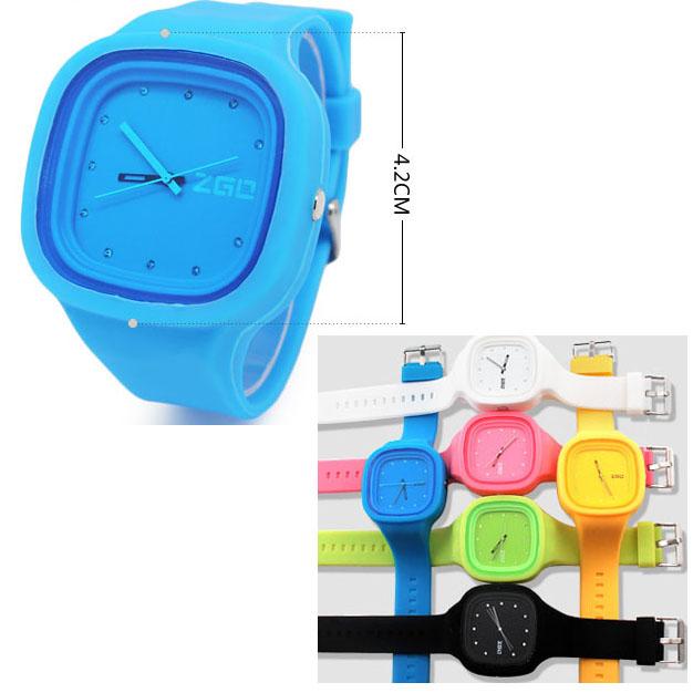 指針式 靚麗糖果色 鑲鑽果凍表 矽膠手錶腕表 錶