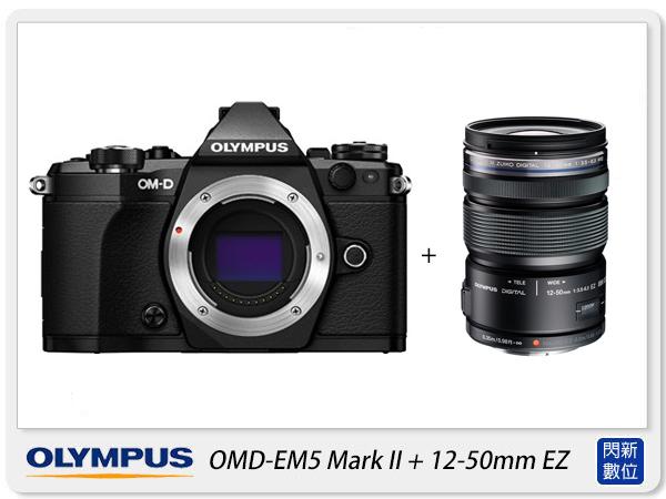 送64G+副廠電池+清潔組+保護貼+原廠包 Olympus E-M5 Mark II + 12-50mm EZ (EM5 M2,元佑公司貨)