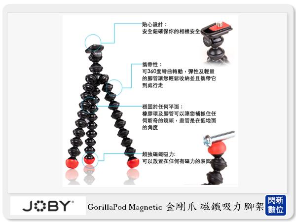 JOBY GorillaPod Magnetic GPM 金剛爪 磁鐵吸力腳架 【分期0利率,免運費】立福公司貨 章魚腳 可彎曲 變形