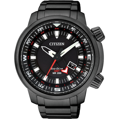 CITIZEN星辰BJ7086-57E全黑休閒運動光動能腕表/黑面46MM