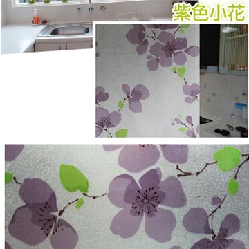 WallFree 居家無膠靜電玻璃貼膜 防曬貼紙-新款紫色小花