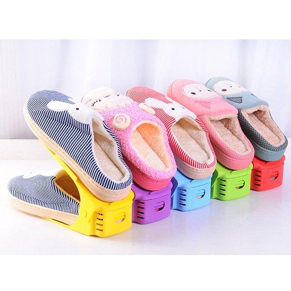 BO雜貨【SV9540】可調式彩色鞋架 日式收納鞋架 一體式鞋架 三段式可調整 省一半以上空間 雙層疊放鞋架