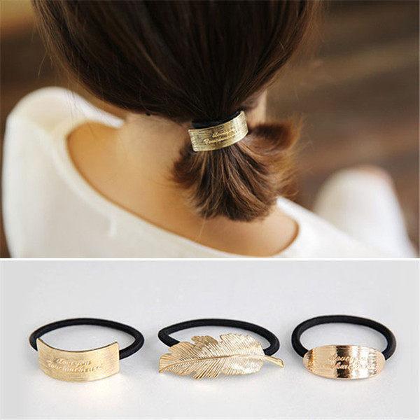 PS Mall 韓版合金屬髮圈頭飾羽毛字母紮頭繩頭花馬尾發繩簡約紮頭髮圈飾品【G2082】