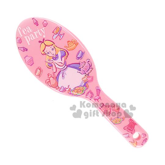 〔小禮堂〕迪士尼 愛麗絲 圓頭氣墊梳子《粉.下午茶.手繪.滿版》