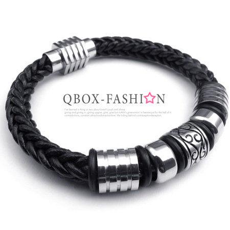《 QBOX 》FASHION 飾品【W10022380】精緻個性圈鋼圖紋編織皮革316L鈦鋼手鍊/手環(銀色)