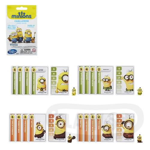 【Playwoods】[小小兵Minions]小小兵挑戰紙牌遊戲-隨機款 附小小兵玩偶Minions Challenge Card Game (共32款/公仔/小黃人/迷你兵團/卡牌對戰遊戲/神偷奶爸/凱文/史都華/蘿蔔/孩之寶Hasbro)