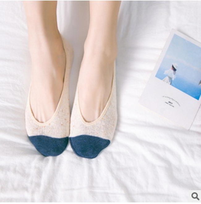 50%OFF【W012422SK】日系襪子批發QY腳尖拼色淺口船襪純棉粗線女襪豆豆鞋襪子批發