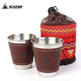 【【蘋果戶外】】KAZMI K5T3K005 仿皮革不鏽鋼杯2入組70ml(紅)/防燙皮革/啤酒杯/飲料杯/防滑/附收納袋