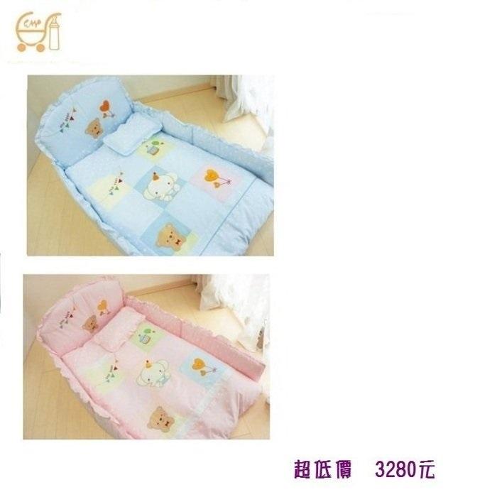 *美馨兒* 東京西川 GMP Baby-[九格象]抗蹣菌七件組/嬰兒床組(二色可挑) 3280元