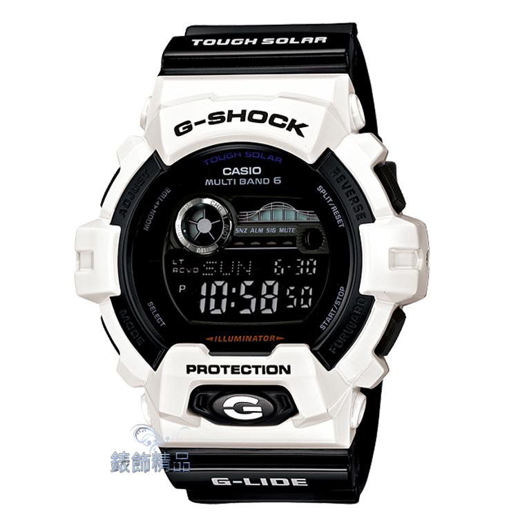 【錶飾精品】現貨卡西歐CASIO G-SHOCK太陽能電力 世界六局電波衝浪錶 GWX-8900B-7 白X黑 全新正品