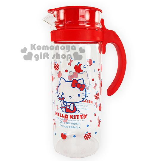 〔小禮堂〕Hello Kitty 玻璃冷水壺《透明.紅蓋.側坐.多蘋果》約1250ml