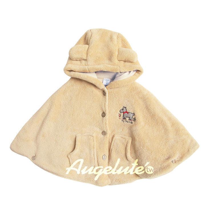 Augelute 兒童 珊瑚絨立體耳朵連帽保暖型外套 37101