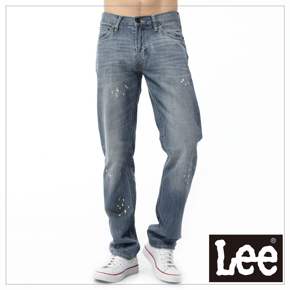 【Super Sales 褲款下殺↘2.5折】LEE 牛仔褲 760 低腰舒適窄腳-男款(淺漂汙漬)