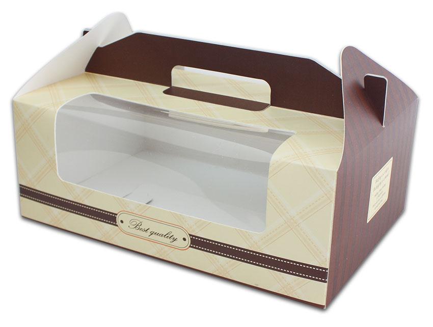 外帶盒、包裝盒、手提盒  6格提盒 MS-6-C(咖色黃格)5 pcs附底托