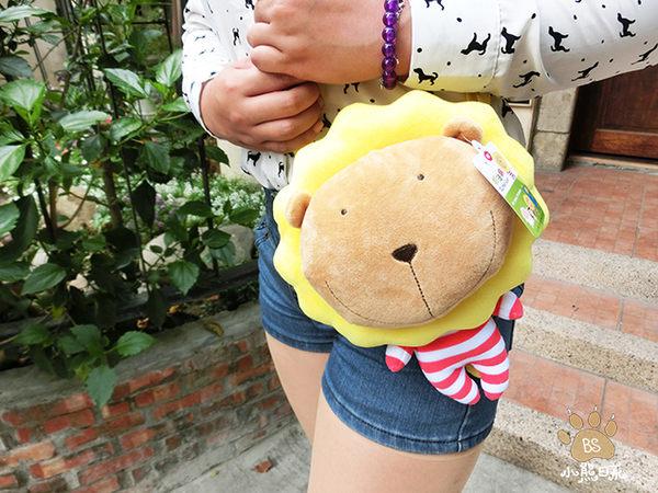 小熊日系* 奶油獅大頭小身絨毛 側背包 相機包 隨身包