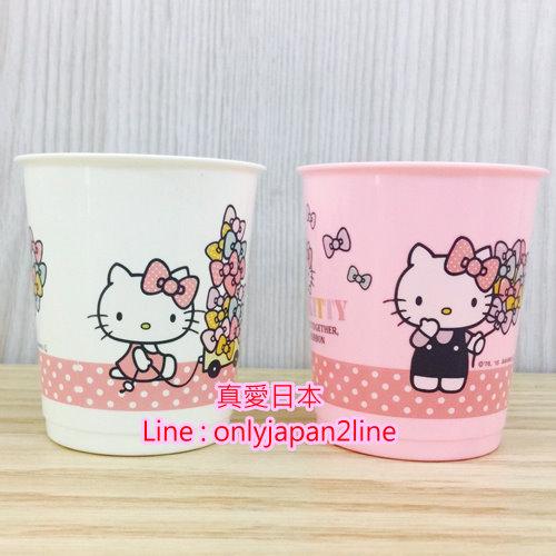 【真愛日本】16091400053 漱口杯-2入KT拿蝴蝶結   三麗鷗家族 Hello Kitty 凱蒂貓  水杯  漱口杯 杯子