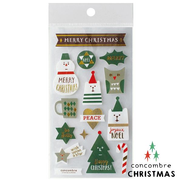 【聖誕節限定版】日本裝飾貼紙 / 聖誕卡素材 -  Concombre 白熊與雪人 ( ZXS-48102 )