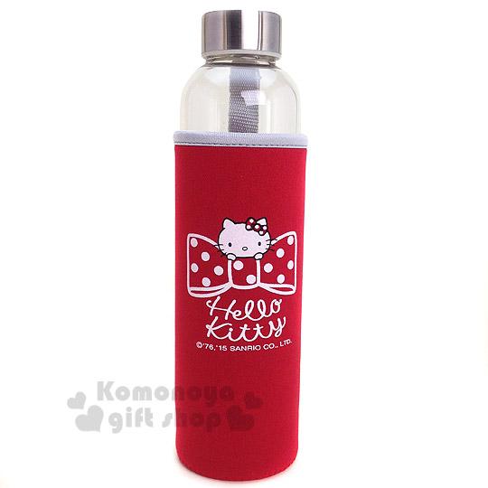 〔小禮堂〕Hello Kitty 玻璃雙蓋隨身瓶《紅.大臉.蝴蝶結.550ml》附瓶套