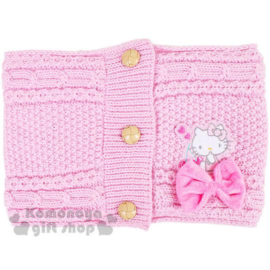 〔小禮堂〕Hello Kitty 兒童針織保暖圍巾《粉.坐姿.櫻桃.蝴蝶結》秋冬禦寒小物